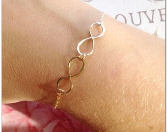 Two Tone Bracelet - Gold and Silver Bracelet - Mixed Metal Bracelet - Infinity Jewelry - Bracelet with Gold Filled and Sterling Silver Charm