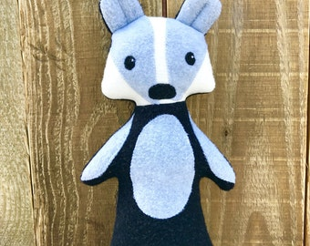 Braxton the Badger, badger, badger plush, stuffed animal, organic stuffed animal, woodland toy, woodland animal, woodland plush, organic toy