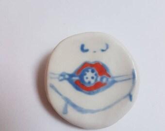 Porcelain badge ball gag submissive handpainted
