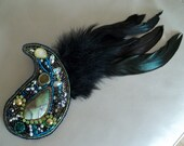 Hair accessory and brooch. Two-in-one accessory. Bead embroidery hair clip brooch with black feather.