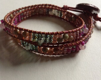 Leather Gemstone Wrap Bracelet