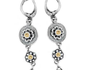 Sterling Silver Earrings, Champagne CZ Earrings,  Silver Jewelry, handmade