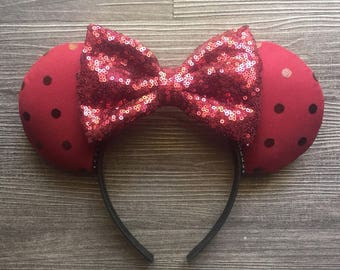 Maroon Minnie, Sequin Ears, Disney Ears