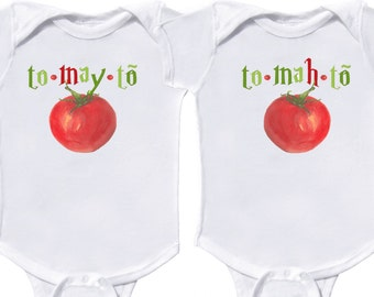 Twin Baby Bodysuits Twin Outfits Boy Twins Girl Twins Boy Girl Twins Newborn Romper to Kids Tees Funny Twin Clothes Twin Shirts