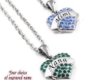 Personalized Necklace for Mom, Mimi, Nana, Memaw, Grandma, Aunt, with choice of Engraved Name and 16 Crystal Colors, Childrens names on back