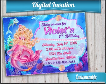 Barbie Mermaid Invitation, Mermaid Invite, Printable Invite + customization, NOT Instant download. Princess and the pearl
