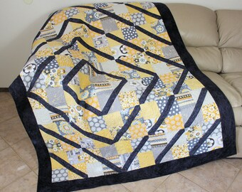 Gray and Yellow Lap Quilt, Crazy for Daisies Split Four Patch Quilted Throw, Asymmetrical Handmade Patchwork Quilt, Quiltsy Handmade