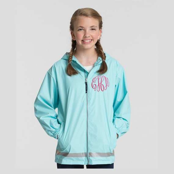 Monogrammed Youth Teen Child Rain Jacket Waterproof Windproof