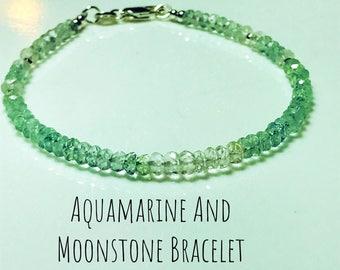 Aquamarin - Wave Crest, Meerwasser - echte Aquamarin und Mondstein Armband