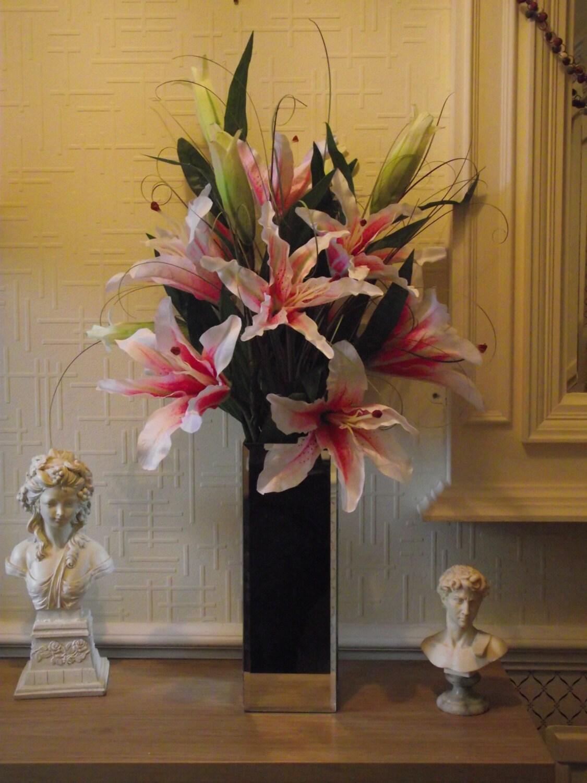 Silk flower arrangement highly realistic pink silk stargazer zoom mightylinksfo