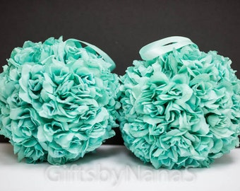 Pool blue flower ball, aqua flower girl ball, kissing ball, wedding decor, turquoise silk flower ball, teal flower ball, turquoise pomander