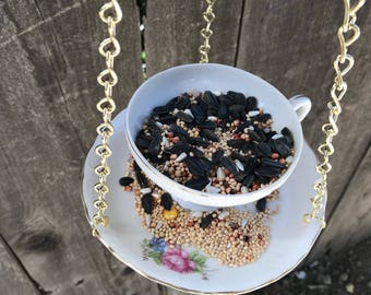 Bird Feeder with Bird's Seed, Bone China Japan, Antique Teacup & Saucer with Single Bag Bird Seed, Gold Trim and Chain, Item #594759083
