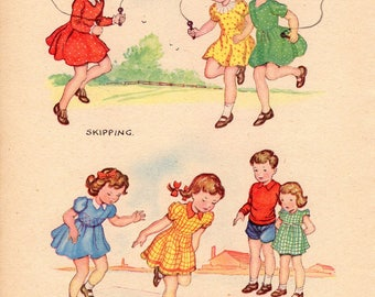 Children's Original Vintage Book Page 1950s Nursery Art Playing Games Skipping Hop Scotch Bedroom Nursery Playroom