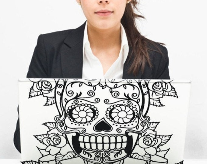 mexican sugar skull laptop decal, day of the dead macbook decal, dia de los muertos sticker, custom fit laptop decal, skull