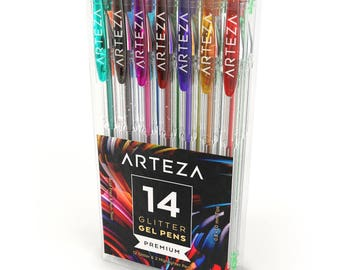 Arteza Glitter Gel Pens 14-Individual-Colors Acid-Free & Non-Toxic (0.8-1.0 mm Tips, Set of 14)