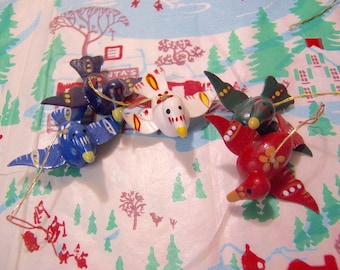wee wooden birds christmas ornaments