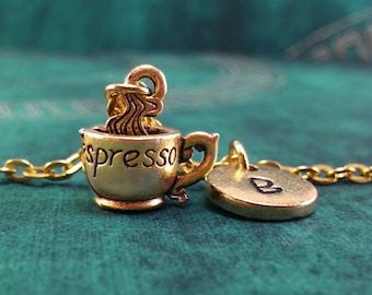 Espresso Necklace, Gold Espresso Charm, Personalized Necklace, Pendant Necklace, Coffee Necklace, Engraved Necklace Gold Charm Necklace