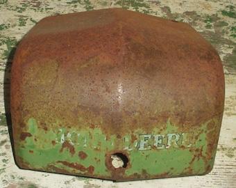 Vintage John Deere Tractor Part Cover Repurpose hanging planter man cave Green