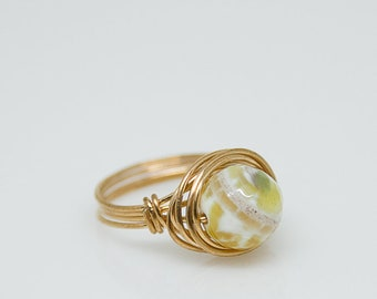 Agate Nesting Copper Ring,Stone Ring,Natural Stone Ring,Wire Wrapped Ring,Copper Ring,Unique Ring,Womens Ring ,Green-White-Yellow R51