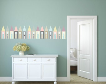 FREE SHIPPING Wall Decal Pastel  Houses. 18 Wall Decal.Nursery Decal. Kids Sticker. Children Decal. Vinyl Wall Decal