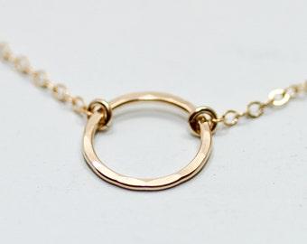 Gold karma necklace - dainty gold necklace - delicate gold necklace - simple gold jewelry - small gold circle necklace - minimalist necklace