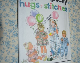 Simplicity 7643 Toddlers Jumpsuit in Two Lengths and Dress Sewing Pattern UNCUT Size 1/2 1 2