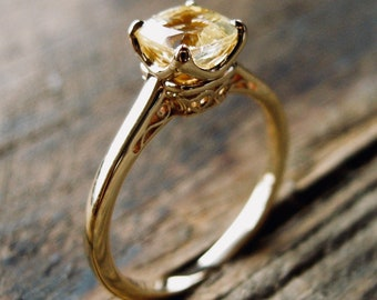 Cushion Cut Yellow Sapphire Engagement Ring in 14K Yellow Gold with Scrolls on Custom Made Basket Size 6