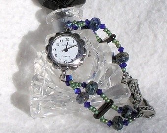 Pewter Watch, Swarovski Crystal, Blue-Green Beads Jewelry W035