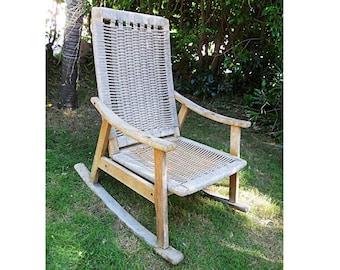 Free Ship Vintage Hans Wegner Design Eames Rope Rocking Chair Mid Century Modern Modernist Sling Yugoslavia  sc 1 st  Etsy & Mid century rocking chair | Etsy