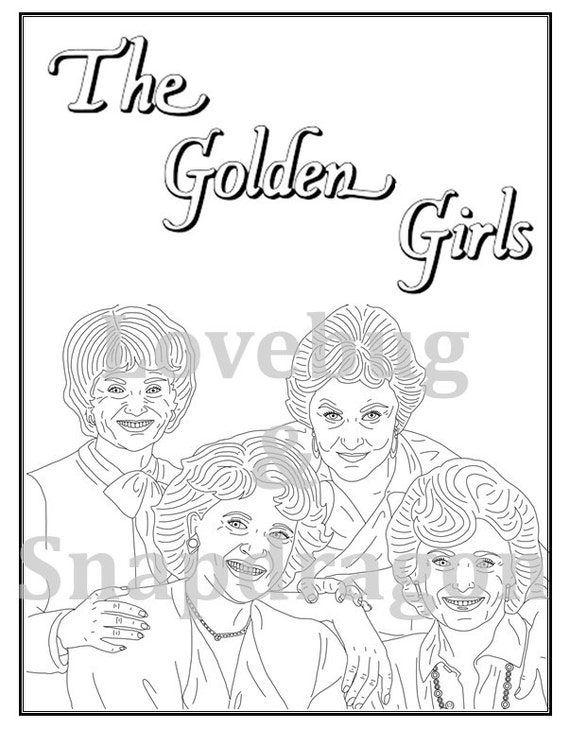 Golden girls coloring book instant printable digital file travel activity rainy day activity art therapy coloring page gift for mom