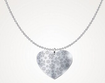Paw print necklace, .925 sterling silver, gifts for her, unisex necklace, gift ideas, animal lover necklace, sterling silver necklace