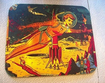 pin up girl mouse pad retro vintage 1950's outer space kitsch rockabilly