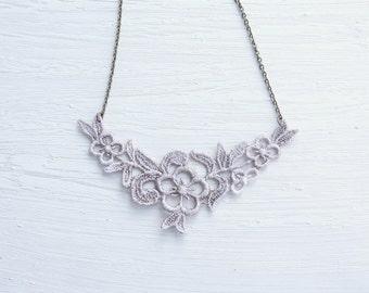 Tan Flower Lace Necklace