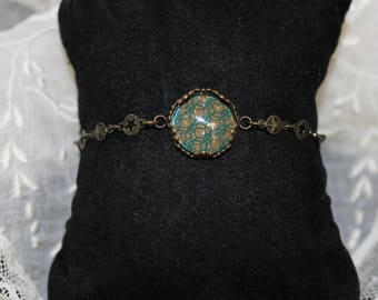 Handmade adjustable bracelet with antique French lace overlay