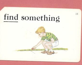FIND/find something/scavenger hunt/Vintage Vocabulary Flashcard