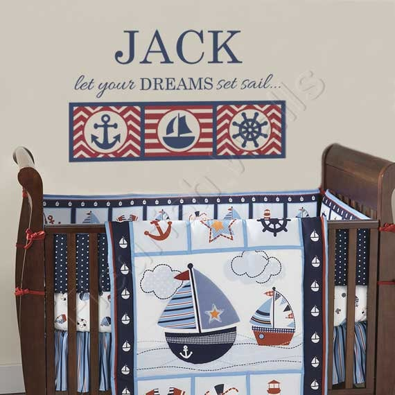 nautical boys room decal personalized name wall decal for. Black Bedroom Furniture Sets. Home Design Ideas