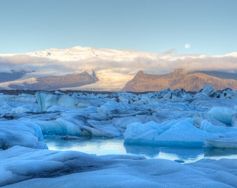 Glacier Lagoon Photograph - Iceland Landscape - Jokulsarlon Glacier Bay - Moon, Moonset, Icebergs