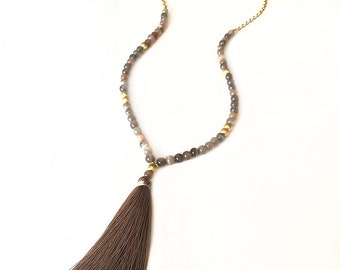 Tan and Brown Boho Beaded Tassel Necklace - Long Necklace - Boho Jewelry - Tassel Necklace - Boho Necklace - Beaded Necklace - Moonstone