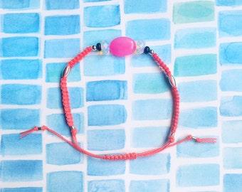 Semiprecious macrame friendship bracelet