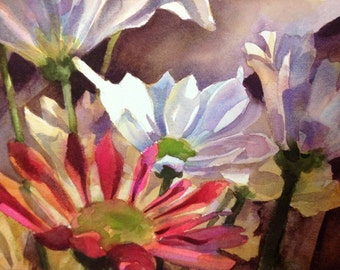 White Daisy- Floral Watercolor ORIGINAL painting by SriWatercolors - 11 x 14 in
