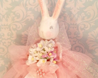 Bunny tree topper easter bunny doll vintage victorian inspired pink spring rabbit art doll