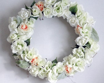 Wreath, Everyday Wreath,White Wreath, Burlap, Door Wreath, Modern Wreath,Everyday Wreath,Rose Wreath, Wreaths, Housewarming Gift, Gift