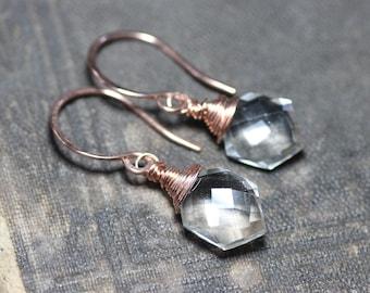 Quartz Earrings Sterling Silver Gemstone Earrings Rustic Jewelry Clear Quartz Crystal Earrings Rose Gold Faceted Point Briolette