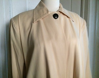 Vintage Swing Coat Jacket, Ultra Suede, Buff Color, Size M-L
