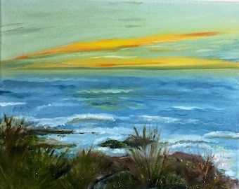 Oil painting, by the sea, blues, CA, christmas, gift
