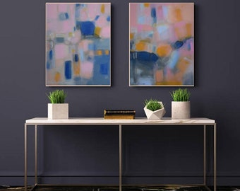 Set of two trending now blush pink and navy art, abstract art diptych canvas wall art, modern calming pastels soft artwork, simple art pink