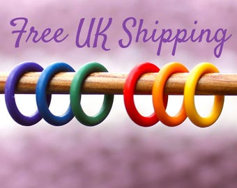 10 Knitting Stitch Markers - snag free, knitting markers, knitting supplies, set of 10 RAINBOW RINGS, knitting tools, knitting accessories