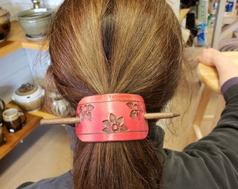Leather Barrette, hand-tooled and dyed .