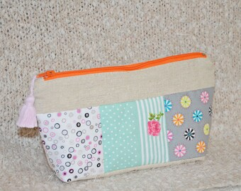 Clutch in linen and cotton patchwork fe orange