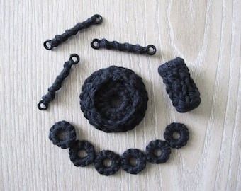 Fiberpunk Beads - Black - 11 Piece Set - Fiber Beads - Crocheted and Tatted Beads for Jewelry Making - Jewelry Components